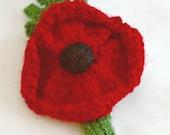 Knitted Poppy Brooch...