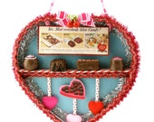 "Fake Chocolate Box of Candy Artwork ""I Heart Chocolate"" ""Candy. Heart Shaped Box. Is Delicious Food!"" Fab Valentines Day Gift. Ready to Ship"