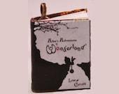 Alice in Wonderland - Mini-Book Pendant - Black & White Cover - Alice in Wonderland Necklace - White Rabbit - Alice Necklace - Book Pendant
