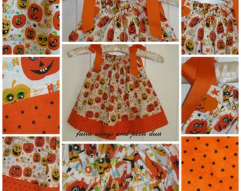 Halloween Pillowcase Dress - Happy Pumpkin Dress - 6 to 12 mth