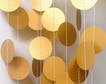 "Gold Garland, Paper Garland, Wedding Garland, Wedding Decoration, Gold Wedding, Party Decor, Bridal Shower, Paper Decoration, 1"" Circles"