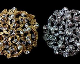 Crystal Bridal Brooch, Vines Wedding Broach, Flower Sash Pin, Pearl Wedding Brooch, Bridal Dress Jewelry, Gold Brooch, Silver Broach, LUXE