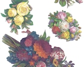 Victorian style sheet of flowers in many colors