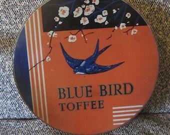 vintage large Blue Bird Toffee tin Art Deco metal box England 50s 1950