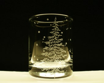 1 'Fir Tree and Floating Flakes' Hand Engraved Glass Votive Holder Winter Wedding Decor