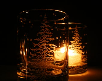 2 Holiday Candle Holders 'Fir Tree and Floating Flakes'  Hand Engraved  Winter Wedding Party Favors Home Decor