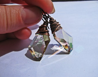 Wire Wrapped Asymetrical Lime Green Swarovski Crystal Earrings