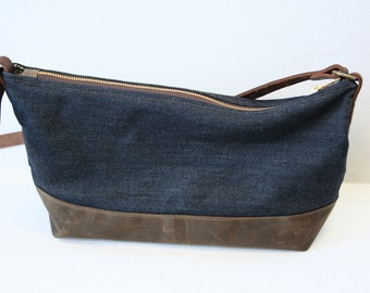 Denim and Waxed Canvas Purse with Adjustable Shoulder Strap