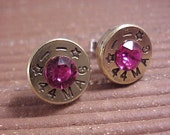 Bullet Earrings 44 Magnum Brass Shell Fuchsia Swarovski Crystal - Free Shipping to USA
