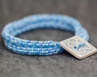 Beaded Wrap Double Strand Bracelet Light Blue Aqua Turquoise Periwinkle by randomcreative on Etsy