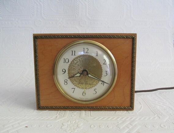 Wooden Brass Vintage Alarm Clock Seth Thomas Mid Century