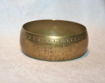 Etched Brass Bangle Vintage 1970s Eastern Religion Symbols