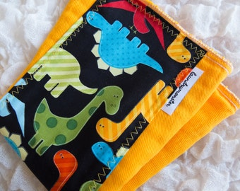 Baby burp cloth - deep yellow dinosaurs hand dyed burp cloth