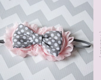 Baby headband { Precious } Blush Pale Pink, gray Newborn baby Headband, cake smash, Spring headband Shabby chic photography prop