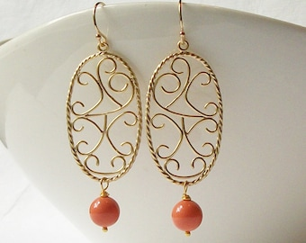 Summer Jewelry Sale ! Coral Gold Pearl Dangle Earrings