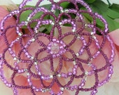 Clearance Sale!! - Purple passion kippah, features shades of purple and clear glass beads.