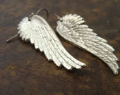 Wing Earrings Sterling Silver - Christmas Angel Earrings 925 - Angel Wings Long Earrings - Big Wing Earrings Sterling Silver