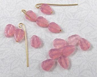 Pink Opal Glass Leaf Beads, 25