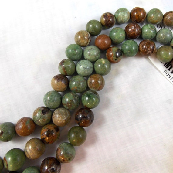 green opal gemstone 10 mm one factory strand