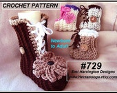 Crochet Baby Booties Pattern - Crochet slippers pattern - baby, child, teen, adult,laced up boots,  #729, Emi Harrington Design
