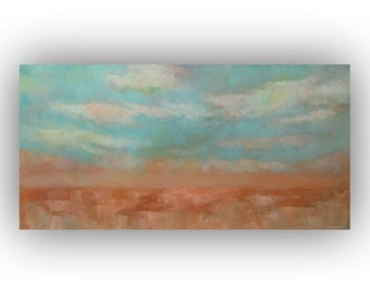 Oil Painting on Canvas- Abstract Landscape- Clouds and Sky- Blue Orange Peach White 15 x 30 Original Palette Knife Art