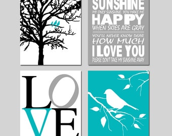 You Are My Sunshine Nursery Art - Set of Four 11x14 Prints - Birds in a Tree, Love, Bird on a Branch - CHOOSE YOUR COLORS