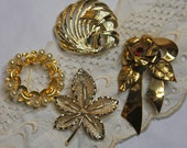 Vintage Gold toned  Brooch Lot Costume Jewelry Pin Group