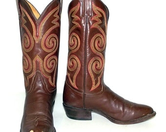 Tony Lama Brown leather Cowboy Boots size 8 D / womens size  9.5