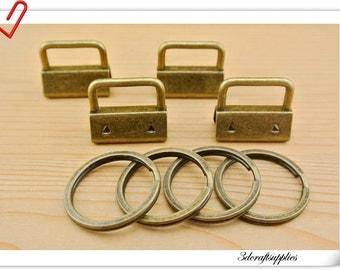 22 sets of  1 inch (25mm) antique brass Key fob hardware set  AC97