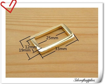 1 inch (inner diameter) golden  rectangle alloy buckles 10pcs 3mm thickness U130