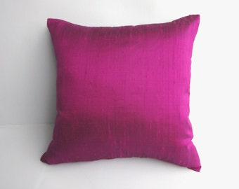 Magenta and blue shot  dupioni silk cushion cover throw pillow. decorative pillow.Can be customised 24 x24 inch 1 in stock