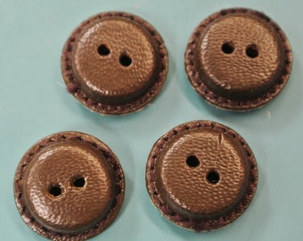 Lot of 6 small unused  vintage 1960s handworked dark brown real leather buttons for your sewing prodjects