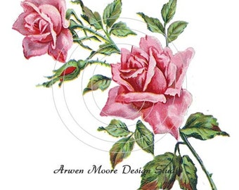 Beautiful Vintage Chic Shabby Duo Red Roses Spray Waterslide Water Slide Iron On Transfer Miniature Decals ro-160