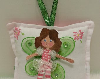 Tooth Fairy Pillow  Girl - Hand Painted - Cloth Fairy -  Add name -  FREE
