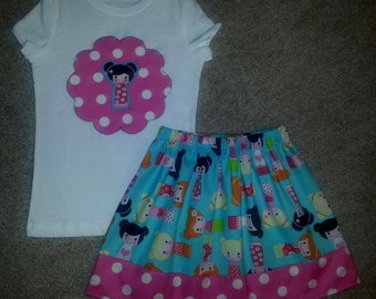 ADORABLE Dolls Girls Tee Shirt and Skirt Outfit ANY SIZE 18m 24m 2T 3T 4 5 6 7 8 9 10