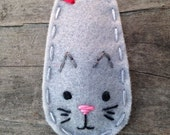 Felt Hair Clip Kitty Cat, Animal Series Hair Clip, Girls Hair Clip, Baby Hair Clip, Gray Hair Clip, Hair Bows