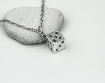Sterling Silver Dice Necklace