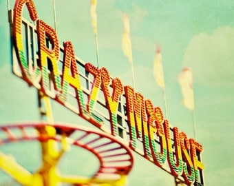 BUY 2 GET 1 FREE Carnival Photography, Carnival Ride, Dreamy, Pastels, Nursery Decor, Kids Room, Yellow Green, Toronto Print - Crazy Mouse 2