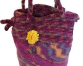 Tote Bag - Felted Marbled Tote Bag with Yellow Flower