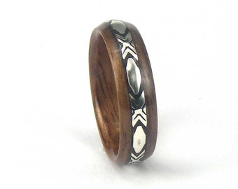 Bentwood Mens Ring Walnut with Patterned Sterling Silver inlay