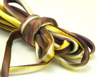 "1/4"" Bias Silk Cord 3 yds Hand Dyed Pansy Purple Yellow Silk Cord"