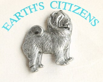 Vintage Chow Chow Dog Figural Pewter Tie Tac Pin Brooch