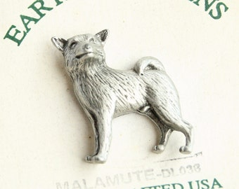 Pewter Malamute Dog Pin Vintage Figural Pewter Tie Tac Pin Brooch