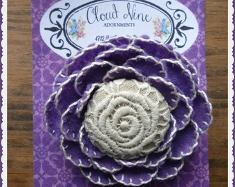 Wool Felt Purple Rose Brooch / Pin