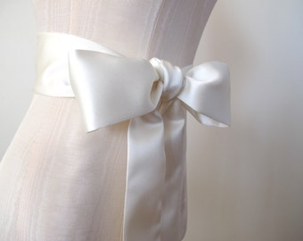 Ivory Sash, Bow Belt, Wedding Sash, Bridesmaid Sash, Matte Satin Sash, Shorter Length