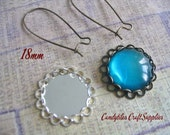 10pc..18mm Circle Bezel trays...With Glass Inserts..Silver and Antique Brass, Pendant Trays