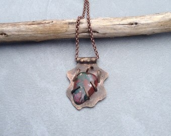 Handcrafted Metalsmith Necklace with Bloodstone Pendant