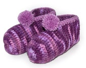 Purple Crocheted Slippers, Purple House Shoes, Womens Booties, Crochet Ladies Slipper, Gift for Women, Slippers with Pom Poms, Made to Order