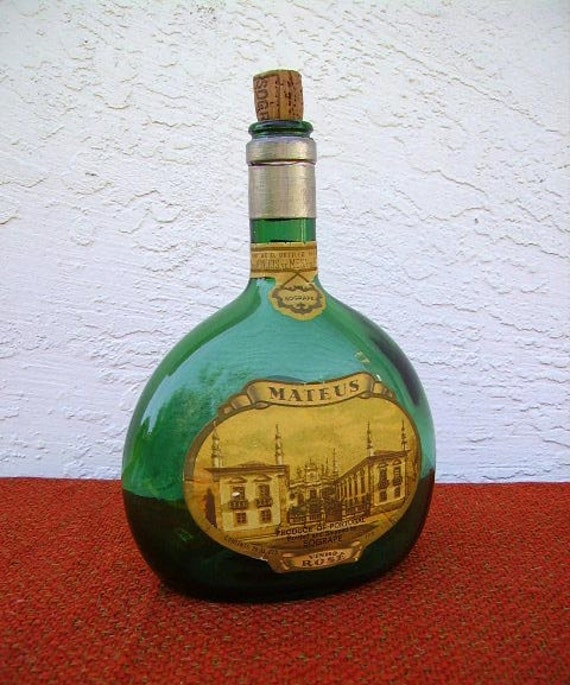 Vintage 1940s Green Mateus Rose Made In Portugal Wine Bottle