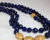 Lapis and 14k Gold Filled Long Knotted Necklace